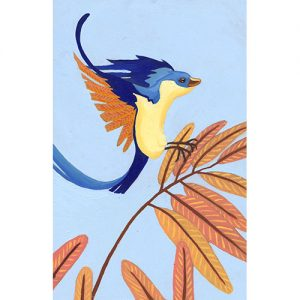Illustration originale oiseau en vol