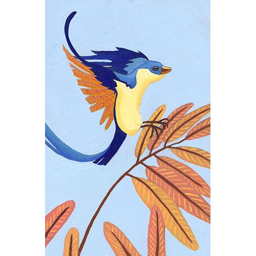 Illustration originale oiseau en vol