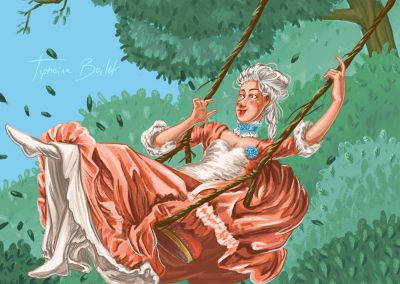 Aristocratie baroque - jeune fille sur la balançoire - illustration digital | Tiphaine Boilet illustratrice Nantes freelance