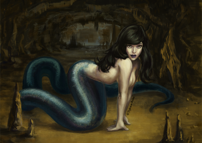 illustration fantastique femme serpent illustration digital | Tiphaine Boilet illustrateur Nantes