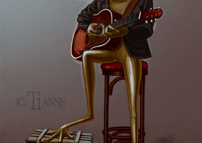 Grenouille illustration guitare illustration digital | Tiphaine Boilet illustrateur digital Nantes freelance