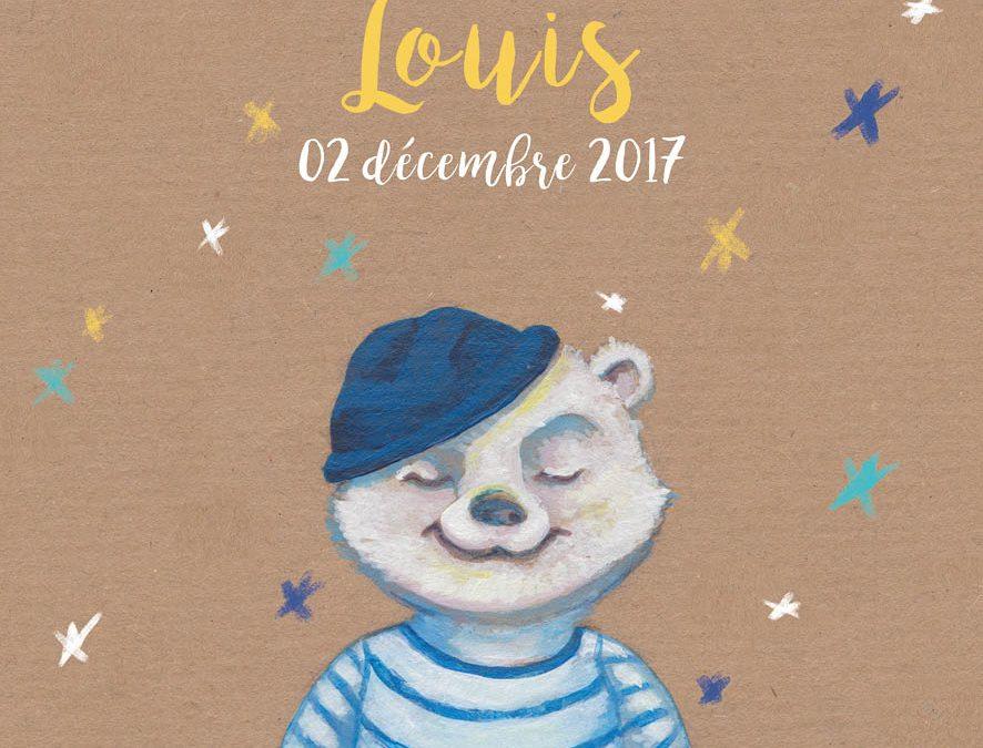 Faire part naissance illustré | Tiphaine Boilet illustratrice graphiste invitation naissance faire part garçon petit ours marin