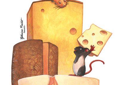 Petites souris sur du fromage | Tiphaine Boilet illustratrice nantaise freelance, illustratrice jeunesse souris illustration