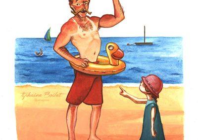 Maitre nageur humour | Tiphaine Boilet illustrateur Nantes, dessin humour