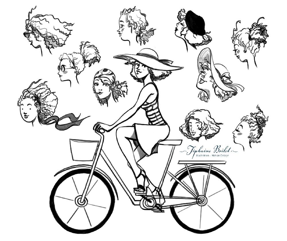 univers féminin léger illustration femme élégante | Tiphaine Boilet illustratrice femme héroïne graphique