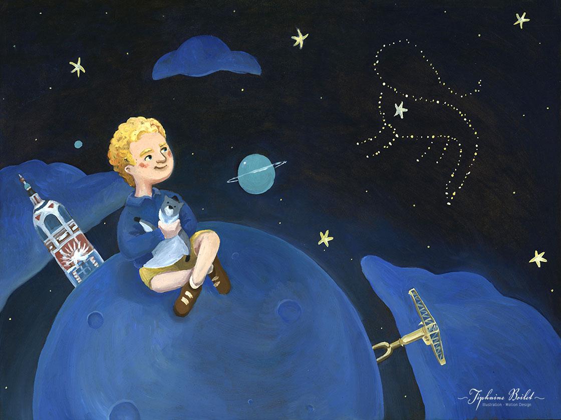 illustration sur commande illustration jeunesse petit garçon et les étoiles Tiphaine Boilet illustratrice jeunesse Nantes