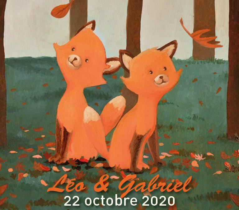 Faire-part de naissance pour jumeaux | Tiphaine Boilet illustratrice graphiste Nantes