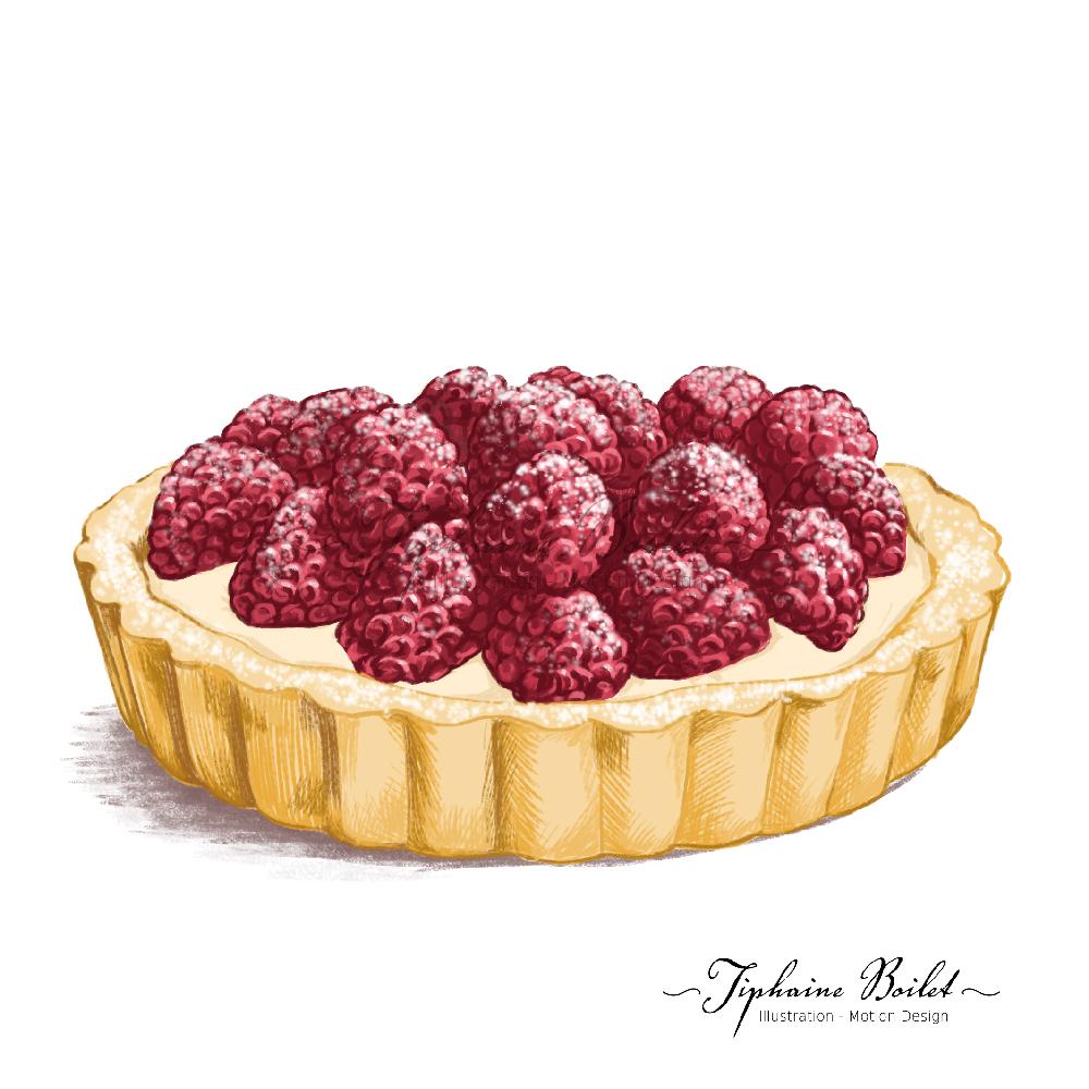dessin de pâtisserie illustration gâteau illustration tartelette framboises Tiphaine Boilet illustrateur Nantes