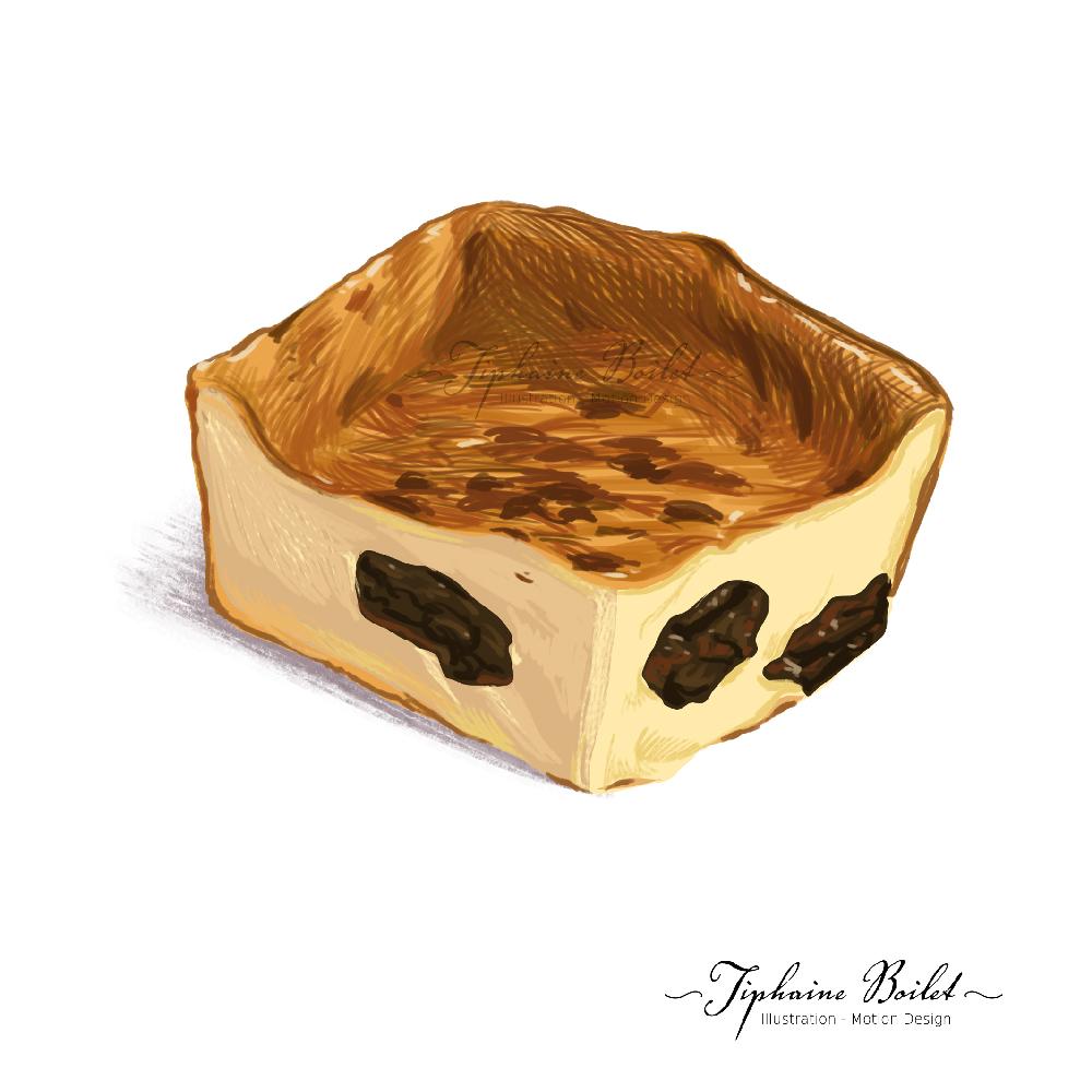dessin de pâtisserie illustration gâteau illustration far breton Tiphaine Boilet illustrateur Nantes