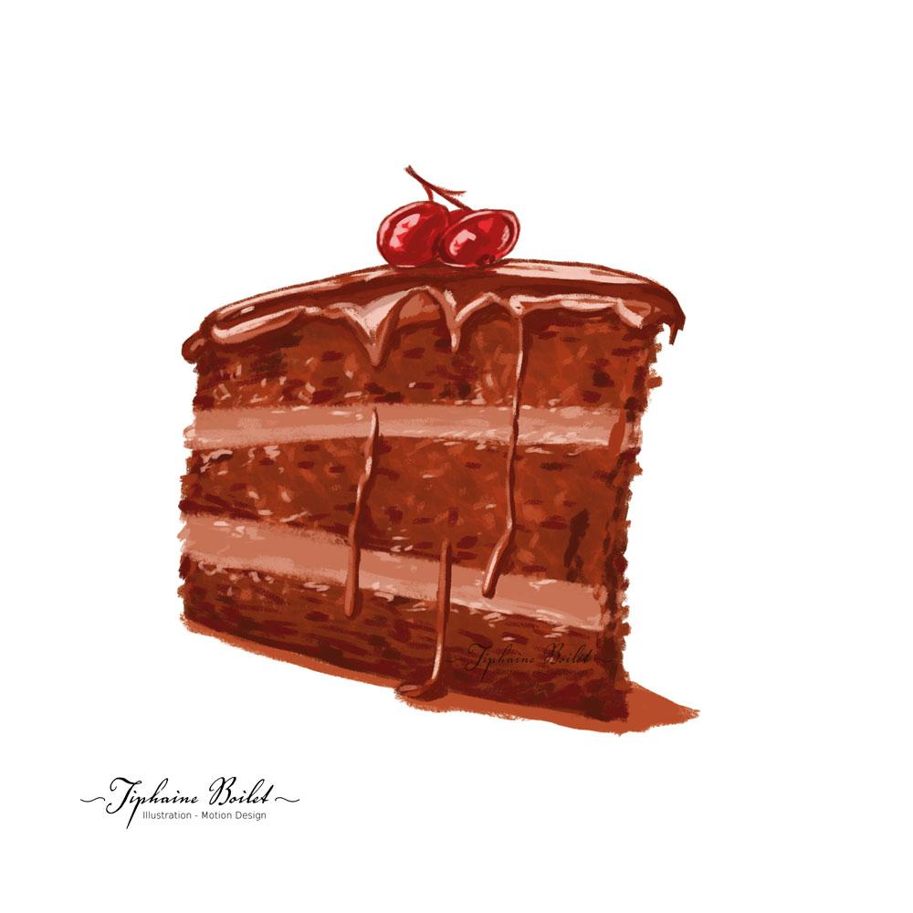 dessin de pâtisserie illustration gâteau illustration forêt noire Tiphaine Boilet illustrateur Nantes